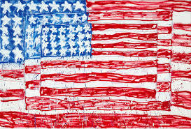 child drawing of American flag