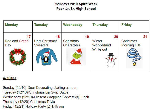 List of events for holiday spirit week.