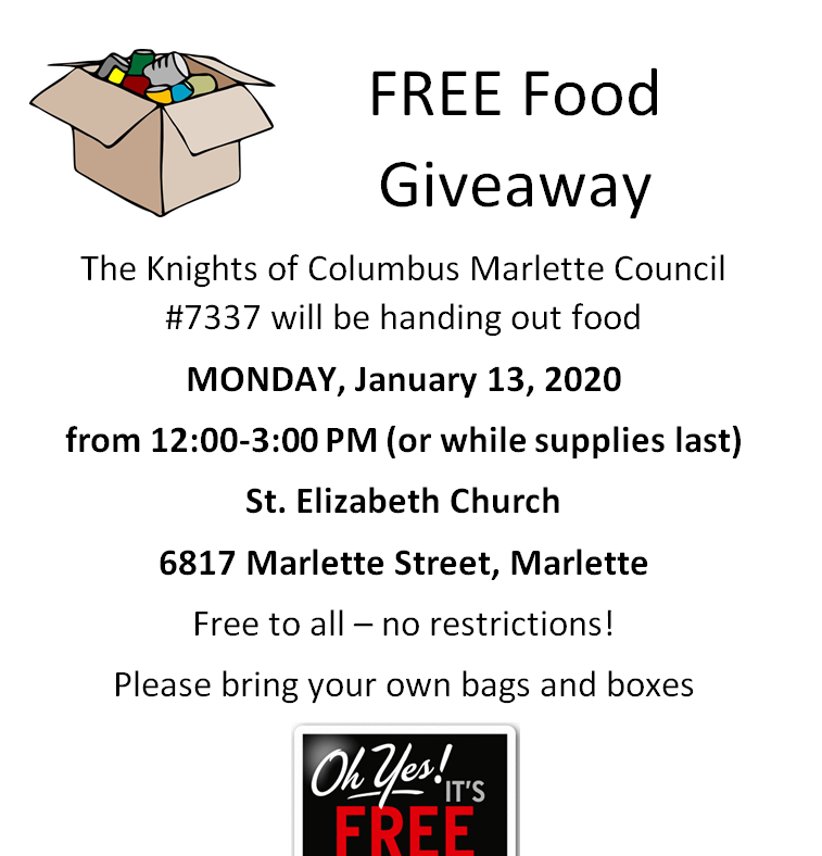 Free food Jan 13 St. Elizabeth Church Marlette