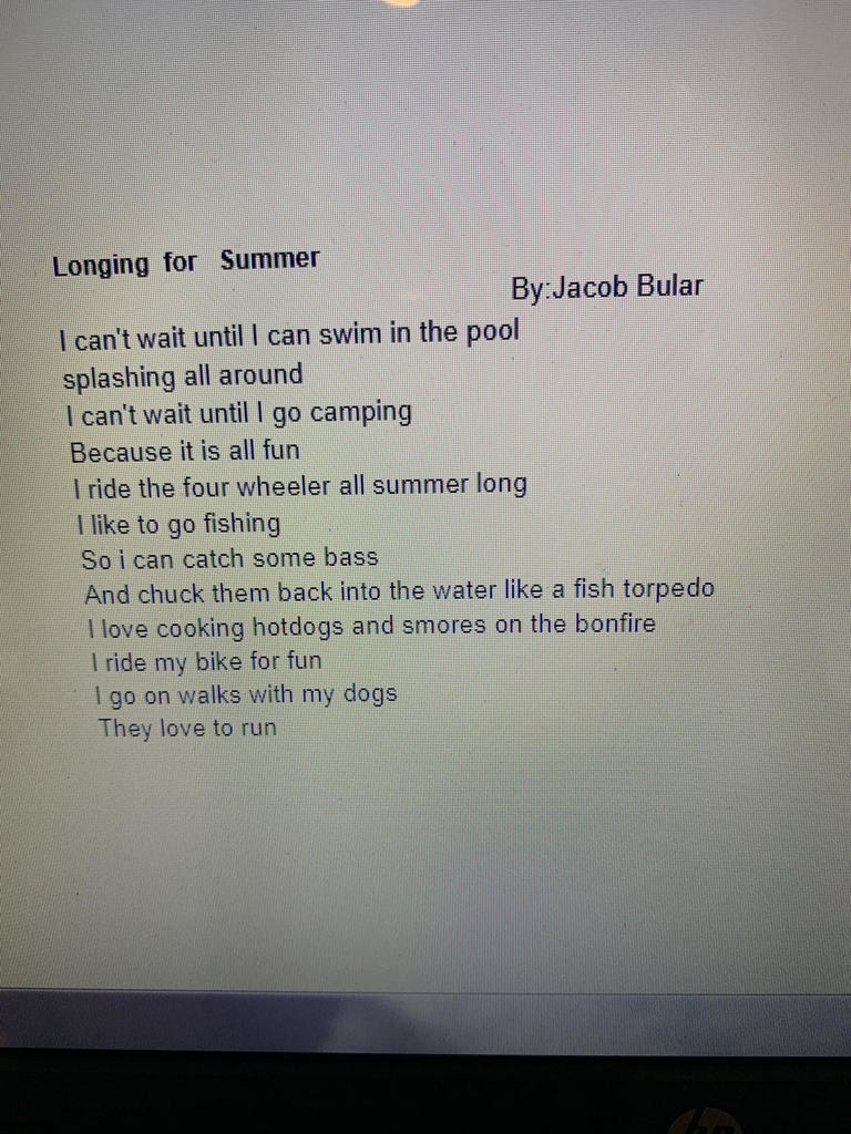 Fifth graders have been studying a unit on poetry; enjoy