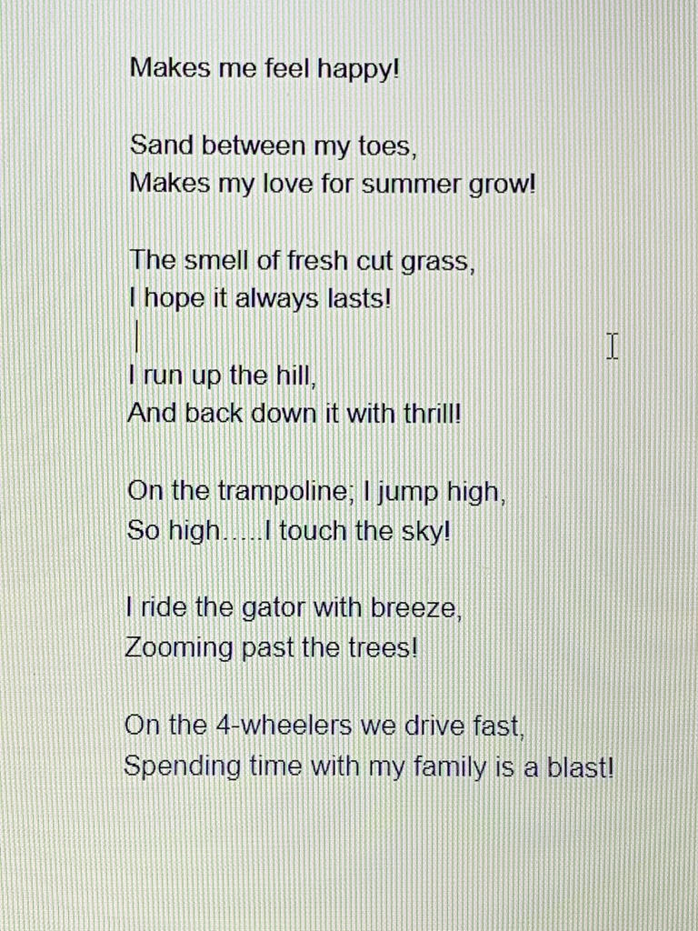 Fifth Grade Poems